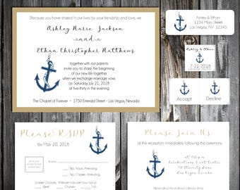 Nautical Beach Anchor Wedding Invitations, RSVP's, Reception Insert w/ FREE Calendar Stickers