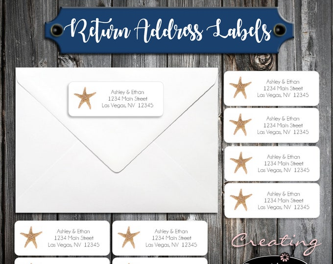 100 Beach Starfish Wedding Return Address Labels - Personalized self stick label for Invitations, RSVP or Thank You Notes