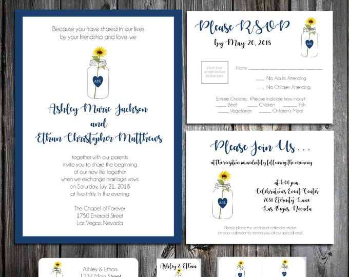 Mason Jar with Sunflower Ultimate Set Wedding Invitations, RSVP's, Reception Insert w/ FREE Calendar Stickers - Printing included