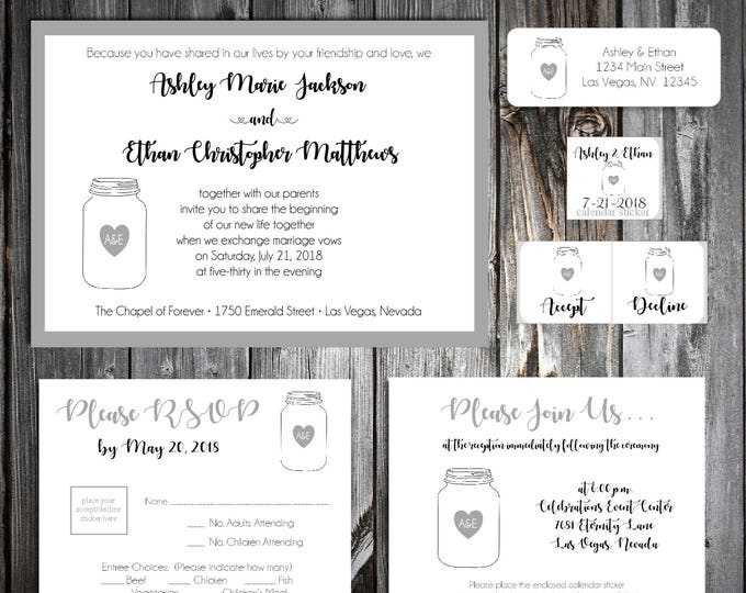 100 Mason Jar Wedding Invitations, RSVP's, Reception Inserts w/ FREE Calendar Stickers