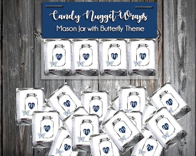 50 Candy Chocolate Wraps - Mason Jar with Butterfly - Personalized Wrappers - Printed - Wedding Favors