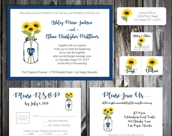 50 Wedding Invitations - Mason Jar with Sunflower - Printed - Personalized - RSVP - Inserts - Stickers