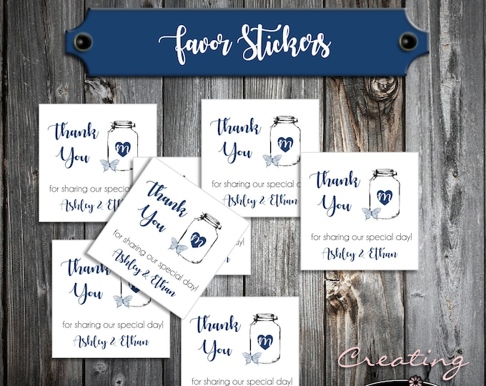 100 Wedding Favor Stickers - Mason Jar with Butterfly - Printed - Personalized - Square 2x2 Thank You Favors