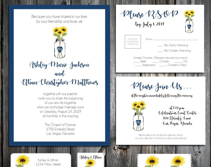 50 Wedding Invitations - Mason Jar with Sunflowers - Printed - Personalized - RSVP - Inserts - Stickers