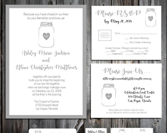100 Mason Jar Wedding Invitations, RSVP's, Reception Insert w/ FREE Calendar Stickers
