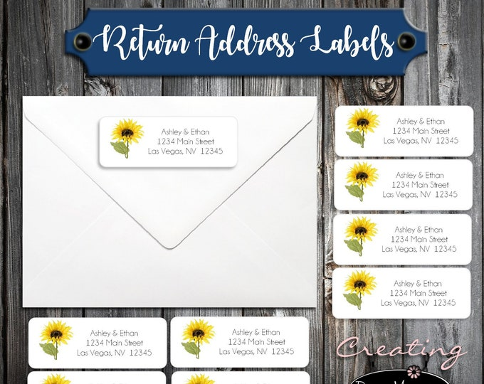 100 Sunflower Wedding Return Address Labels - Personalized self stick label
