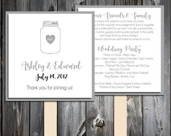 Mason Jar Program Fans Kit - Printing Included. Wedding ceremony programs