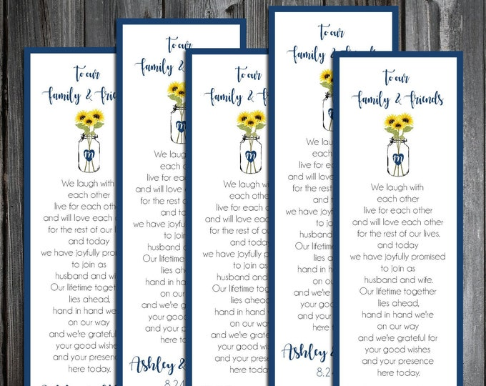 75 Wedding Bookmarks - Mason Jar with Sunflower - Printed - Personalized - Wedding Favors