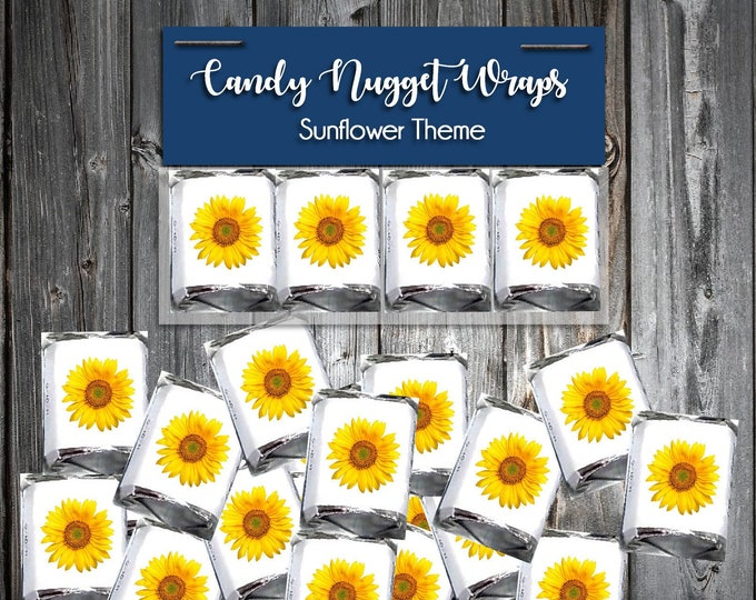 100 Candy Chocolate Wraps - Sunflower - Personalized Wrappers - Printed - Wedding Favors