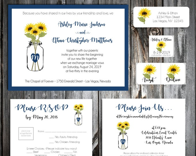 1800 Pieces Wedding Invitations Set - Mason Jar with Sunflower - RSVP - Inserts - Stickers - Printed - Personalized