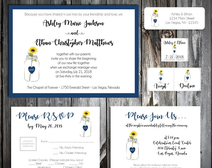 Mason Jar with Sunflower Wedding Invitations, RSVP's, Reception Insert w/ FREE Calendar Stickers - Printing included