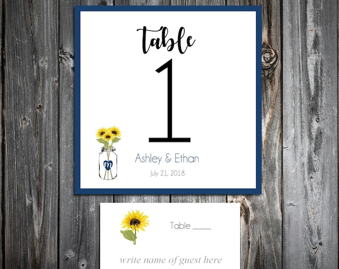 10 Wedding Table Numbers - 100 place settings - Mason Jar with Butterfly - Printed - Personalized