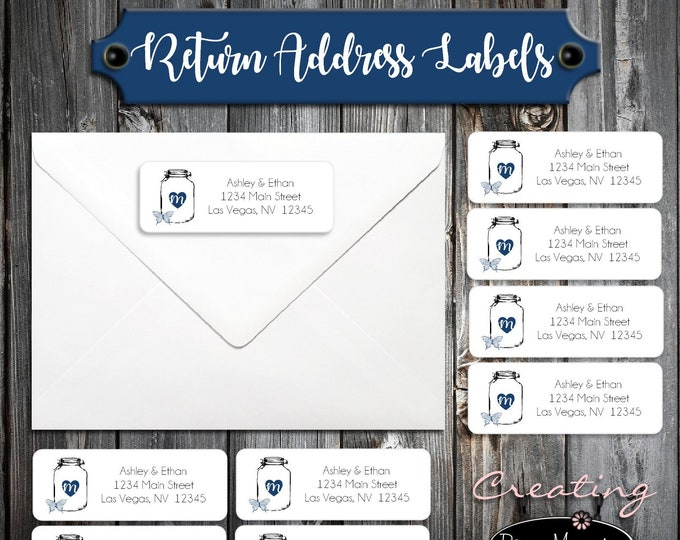 100 Wedding Return Address Labels - Mason Jar with Butterfly - Printed - Personalized self stick label
