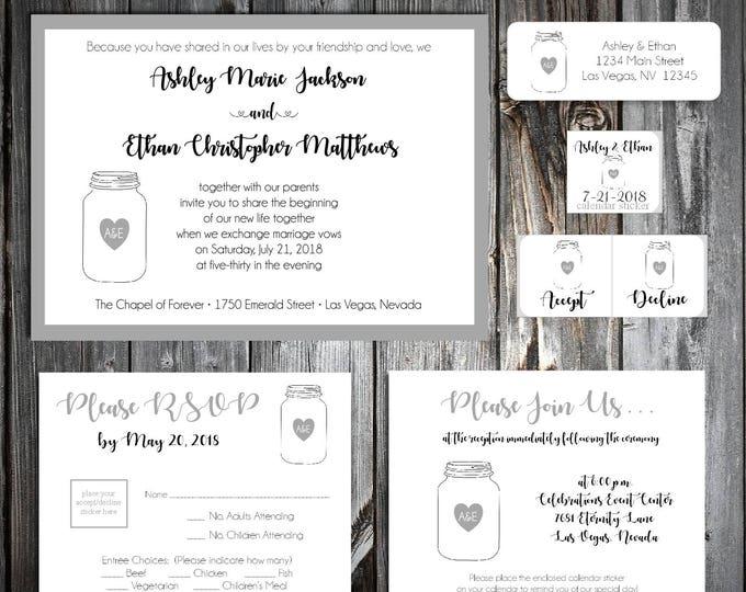 50 Mason Jar Wedding Invitations, RSVP's, Reception Insert w/ FREE Calendar Stickers