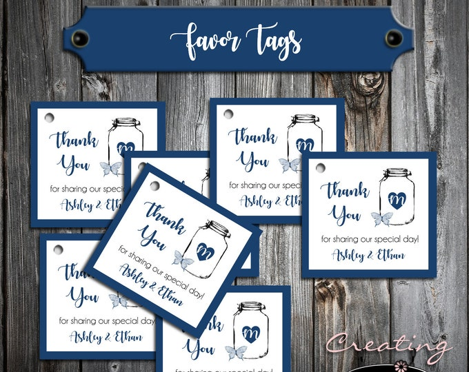 100 Wedding Favor Tags - Mason Jar with Butterfly - Printed - Personalized - Wedding Favors