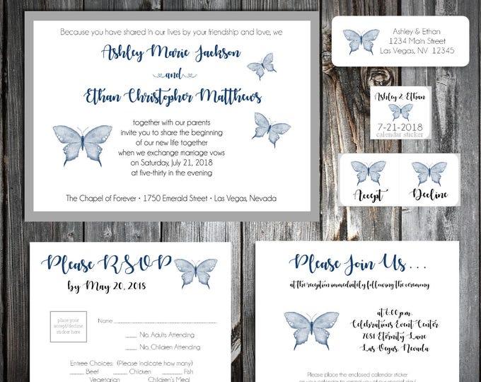 Butterfly Wedding Invitations, RSVP's, Reception Insert w/ FREE Calendar Stickers