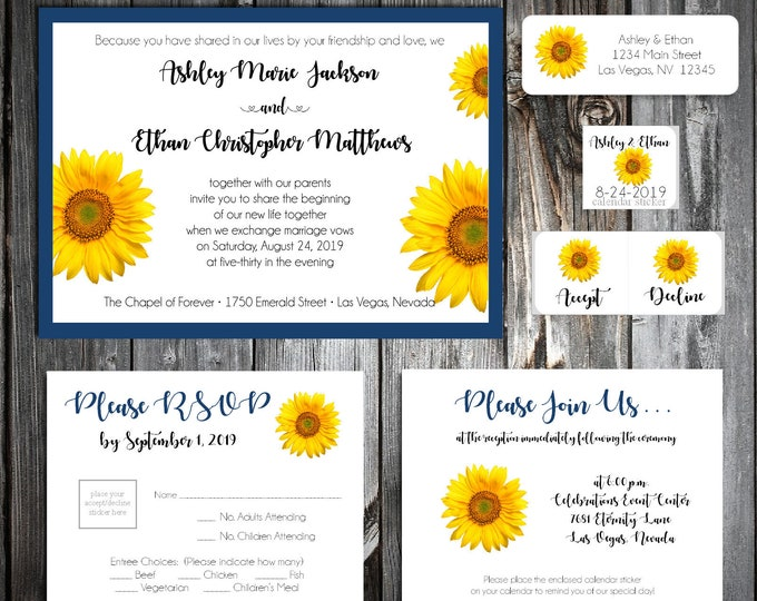 1800 Pieces Wedding Invitations Set - Sunflower - RSVP - Inserts - Stickers - Printed - Personalized