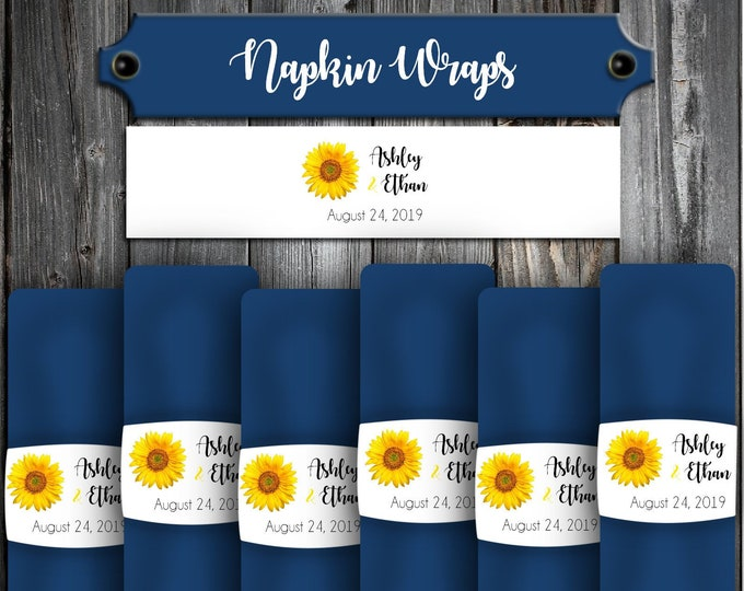 150 Wedding Napkin Wraps - Cuffs- Rings - Sunflower - Wedding Favors - Printed - Personalized