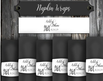 100 Wedding Napkin Wraps Cuffs Rings Monogram Floral Letter - Printed - Personalized For Your Napkins - Monogrammed