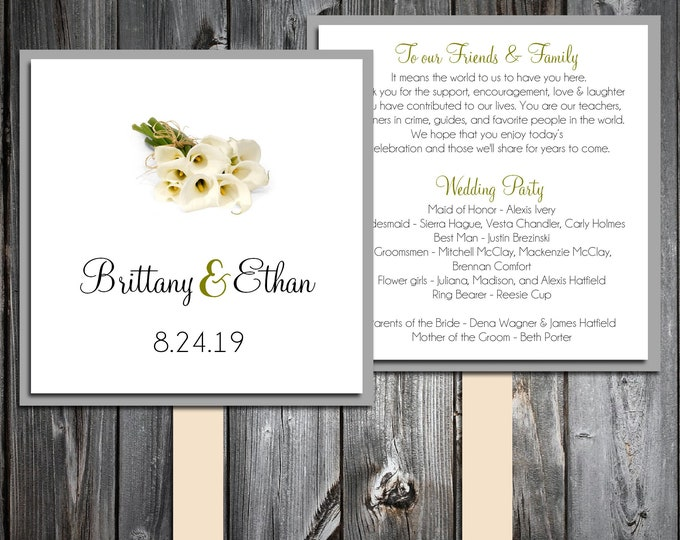 50 Wedding Program Fans Kit - Calla Lily - Printed - Personlized Calla Lilies Theme