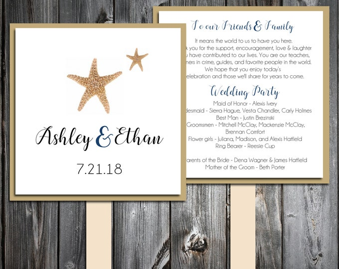 50 Wedding Program Fans Kit - Beach Starfish - Printed - Personlized