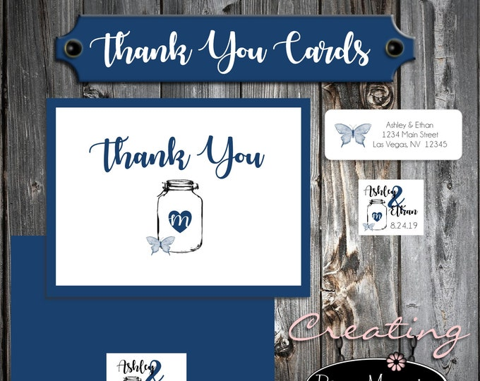 100 Wedding Thank You Cards - Mason Jar with Butterfly - Printed - Personalized - Butterflies -  Flat Card