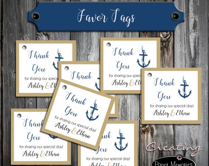 50 Wedding Favor Tags - Nautical Anchor Beach - Printed - Personalized - Wedding Favors