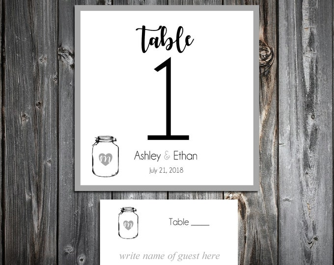 10 Wedding Table Numbers - 100 place settings - Mason Jar - Printed - Personalized Rustic Table Decor