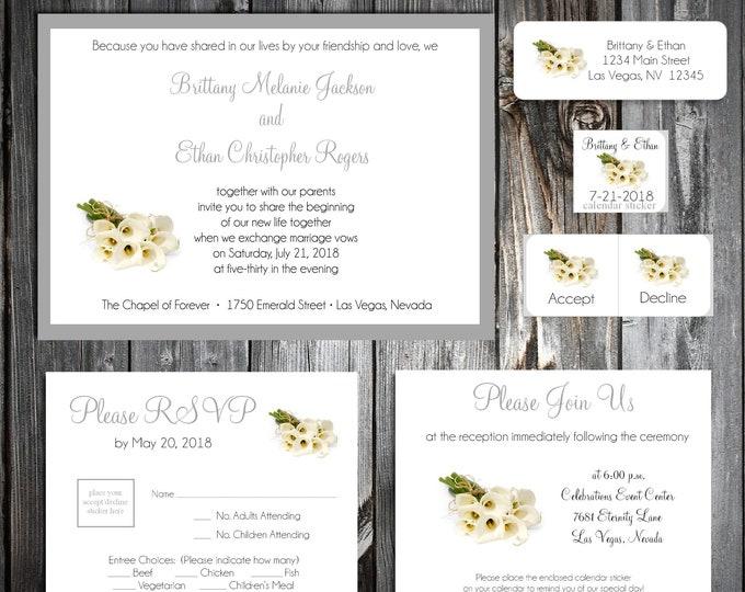 100 Calla Lily Wedding Invitations, RSVP's, Reception Insert Invitations w/ FREE Calendar Stickers