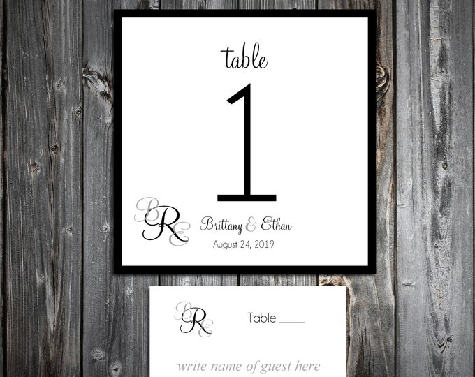 10 Wedding Table Numbers - 100 place settings - Monogram - Printed - Personalized - Monogrammed