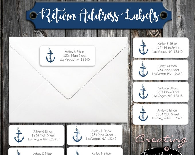 60 Wedding Return Address Labels - Nautical Anchor Beach - Printed - Personalized self stick label