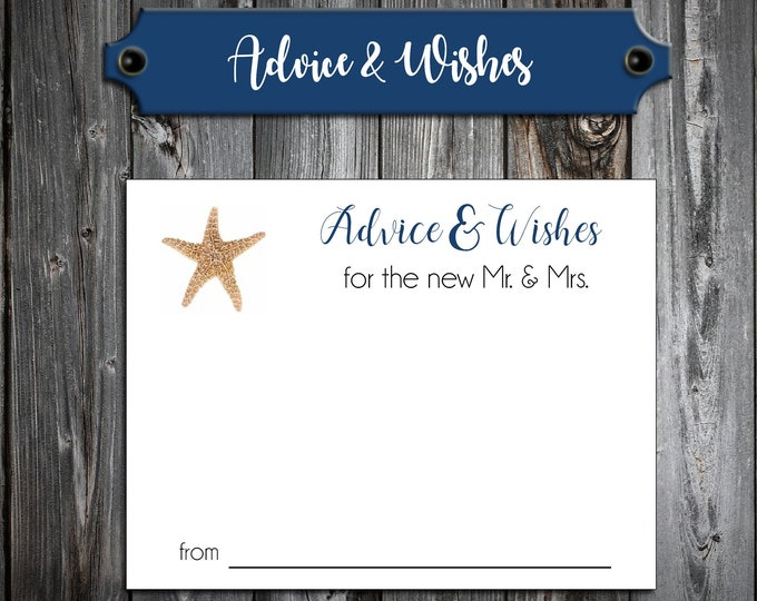 100 Wedding Advice and Wishes - Beach Starfish - Personalized - Printed Wedding Favors