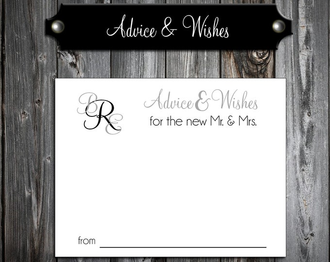 100 Wedding Advice and Wishes - Monogram - Personalized - Printed - Monogrammed Wedding Favors