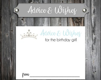 25 Birthday Advice and Wishes - Tiara Princess Crown Cinderella Quinceaner - Personalized - Printed - Birthday Favors