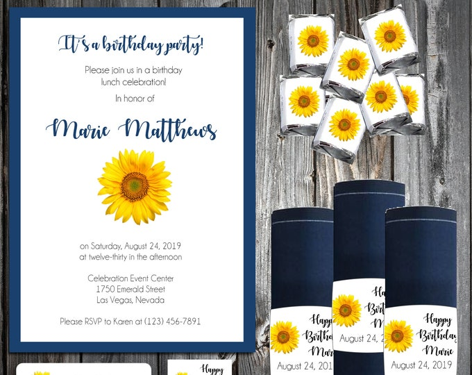 25 Birthday Invitations - Sunflowers  - Printed - Custom Personalized - with Napkin Wraps and Candy Chocolate Wrappers