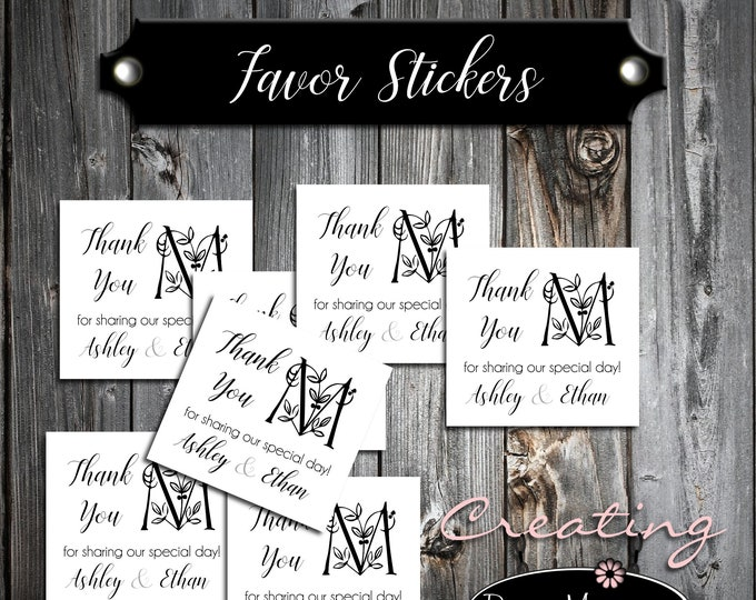 100 Wedding Favor Stickers - Monogram Floral Letter - Printed - Personalized Square labels are 2 inches by 2 inches.