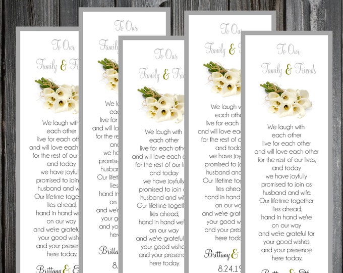 100 Wedding Bookmarks - Calla Lily - Printed - Personalized Calla Lilies Wedding Favors