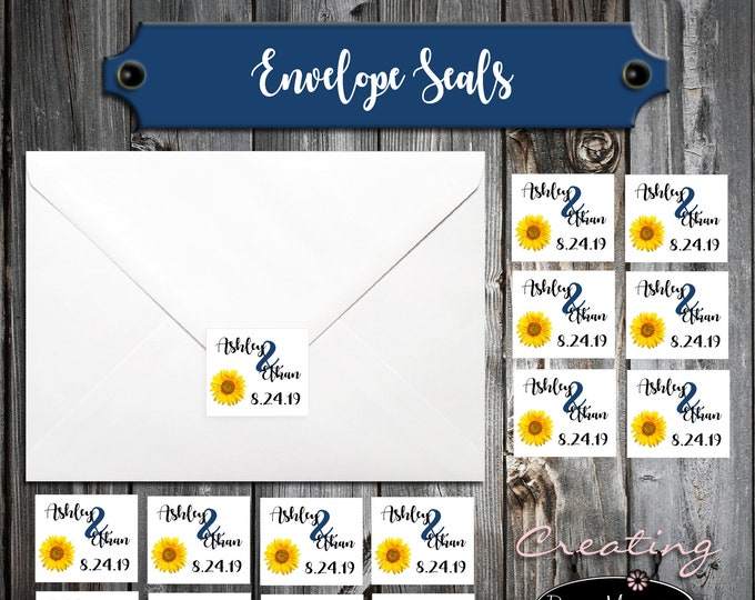 100 Wedding Envelope Seals - Sunflower - Printed - Sunflowers Personalized Sticker Labels