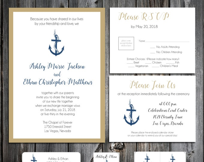 50 Wedding Invitations - Nautical Beach Anchor - RSVP - Inserts - Printed -Personalized - Return Address Labels - Stickers
