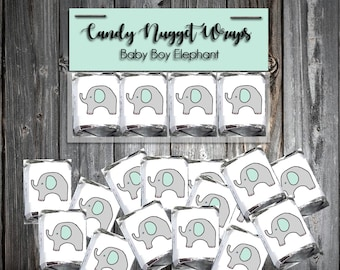 60 Green and Grey Elephant Shower Candy Chocolate Wraps Favors. Includes printing.