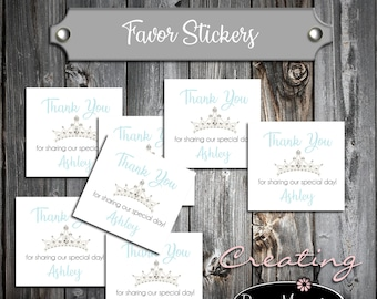 25 Birthday Favor Stickers - Tiara Princess Crown Cinderella Quinceanera - Printed - Personalized Square labels are 2 inches by 2 inches.