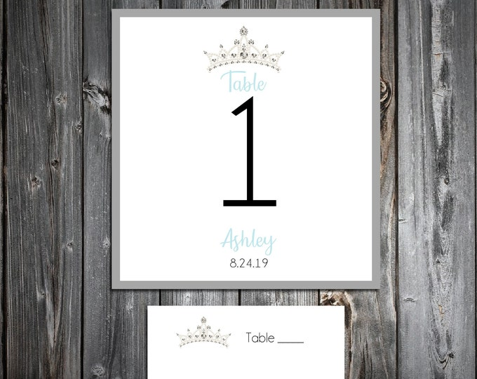 10 Birthday Table Numbers - 100 place settings - Tiara Princess Crown Cinderella Quinceanera - Printed - Personalized