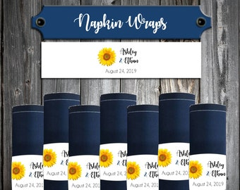 50 Wedding Napkin Wraps Cuffs Sunflower - Printed - Personalized For Your Napkins - Sunflowers