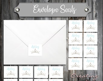 100 Birthday Envelope Seals - Tiara Princess Crown Cinderella Quinceanera - Printed - Personalized Sticker Labels