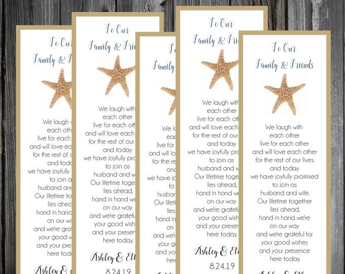 100 Wedding Bookmarks - Beach Starfish - Printed - Personalized - Wedding Favors