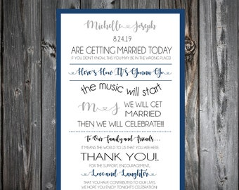 100 Wedding Programs Cards - Monogram - Printed - Personalized - Ceremony Programs - Here's How It's Gonna Go