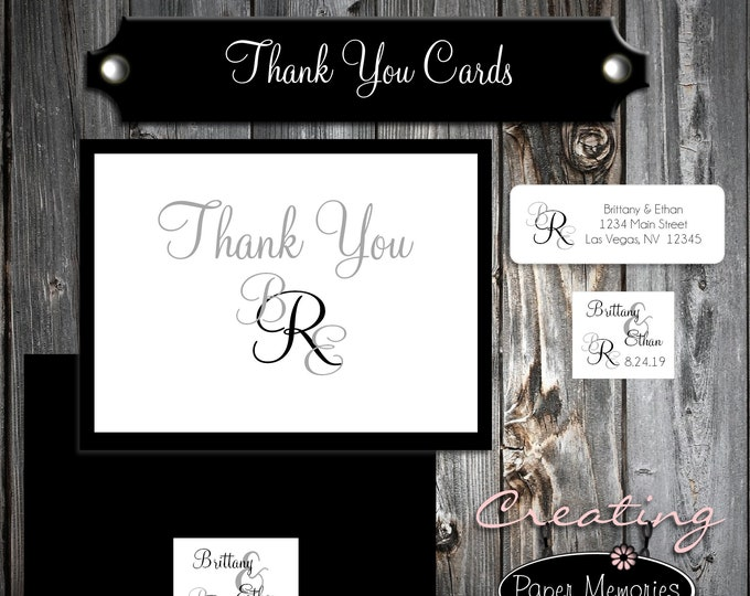 100 Wedding Thank You Cards - Monogram - Printed - Personalized - Monogrammed Flat Card