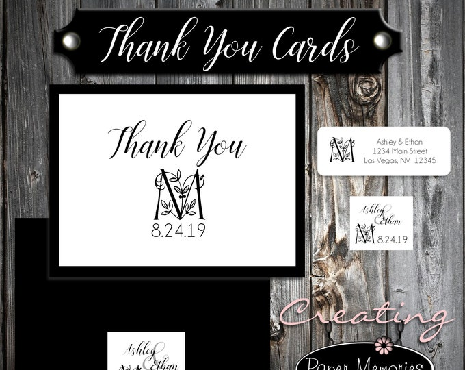 100 Wedding Thank You Cards - Monogram Floral Letter - Printed - Personalized - Flat Card
