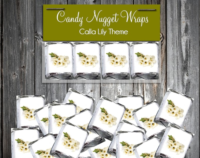100 Calla Lily Candy Chocolate Wraps - Calla Lilies Wedding Favors