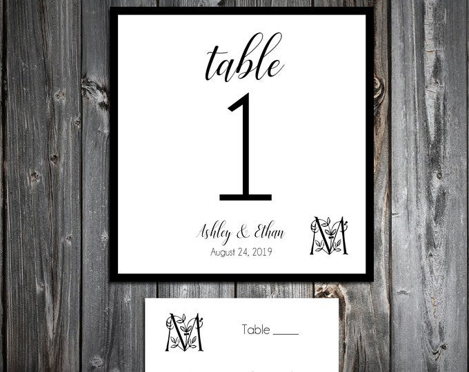 10 Wedding Table Numbers - 100 place settings - Monogram Floral Letter - Printed - Personalized